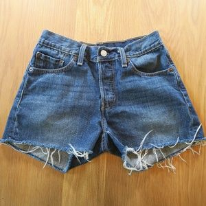 [Levi's] 501 Button Fly Cut Off Shorts Size 24